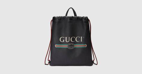 e2e38dec7866 Gucci - Gucci Print leather drawstring backpack
