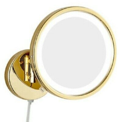 Advertisement Gurun Led Lighted Wall Mount Gold Chrome Makeup Mirror 10x 1x Magnifying W Plug Chrome Makeup Mirror Wall Mounted Makeup Mirror Makeup Mirror