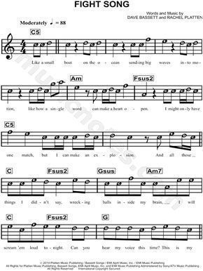 Fight Song Sheet Music By Rachel Platten And Other Pop Songs On