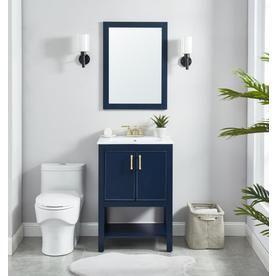 Allen Roth 24 In Navy Blue Single Sink Bathroom Vanity With