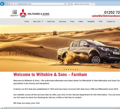 Wiltshire and Sons in Farnham Surrey, asked us to provide them with a new website after their previous web design company were letting them down. See the website at www.wiltshireandsons.co.uk