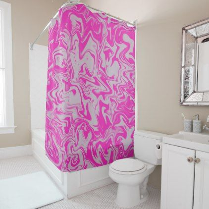 Hot Pink And White Marble Design Shower Curtain Zazzle Com