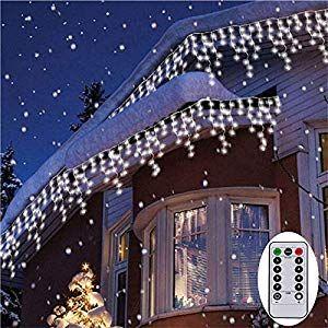 96LED Eisregen Lichtervorhang Weihnachten Lichterkette Außen Innen Beleuchtung