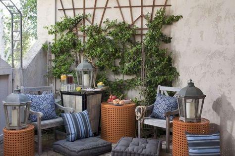 Amenagement Jardin Terrasse Plantes Grimpantes Lanternes