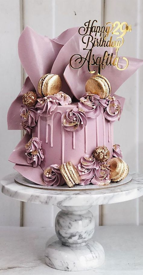 Simple Birthday Cake Designs, Cake Designs For Girl, Elegant Birthday Cakes, Beautiful Birthday Cakes, Candy Birthday Cakes, Birthday Cakes For Women, Birthday Cake Girls, Purple Birthday, 32 Birthday