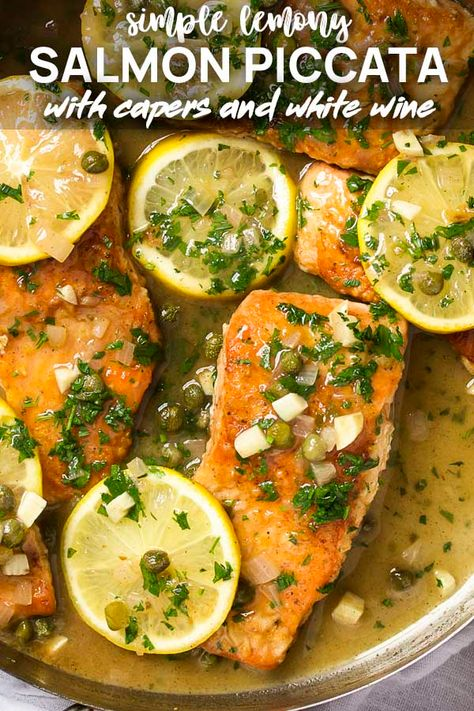 My recipe for salmon piccata with a lemon and caper sauce is pan seared in a skillet then served over pasta for a healthy and easy weeknight dinner.   justalittlebitofbacon.com #fishrecipes #dinnerrecipes #easyrecipes #salmon #dinner #salmonpiccata #pescatarianrecipes