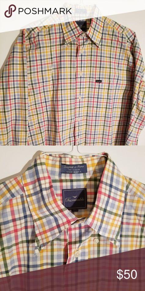 Faconnable Men's Cotton Dress Shirt Long sleeve Blue, pink
