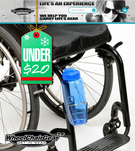 "WHEELCHAIR USER'S Gear Under $20 to help you carry stuff. Mini-Packs-Grip-Clips-Super Duty Clips-Stainless Bottle Holder With Velcro Attaching Strap and more! ""Go Out And Do Cool Stuff In Your Chair"""