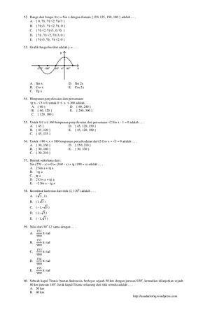 100 Soal Matematika Sma Kelas X Semester 2 Soal Matematika Semester The 100