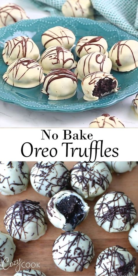 This easy no-bake Oreo truffle recipe takes just three ingredients: Cream cheese, chocolate, and Oreos! They are easy to make ahead of time and can even be frozen! recipe dessert videos No Bake Oreo Truffles Smores Dessert, Bon Dessert, Dessert Party, Oreo Dessert Easy, Dessert Table, Oreo Truffles Recipe, Truffles Easy No Bake, Cake Truffles, Balls Recipe