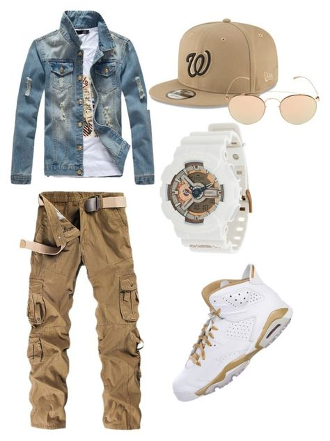 A menswear look from March 2018 featuring mens khaki pants, men's outerwear and mens high top shoes. Browse and shop related looks. Dope Outfits For Guys, Swag Outfits Men, Stylish Mens Outfits, Outfits For Teens, Blazer Outfits, Stylish Boys, Simple Outfits, Boy Outfits, Tween Boy Fashion
