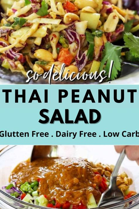 Thai Peanut Salad is so delicious with fresh shredded cabbage, peanuts, chopped veggies and tossed. This low carb keto salad recipe is everyone can enjoy! #peanutsalad #lowcarb #gluttenfree #ketorecipes