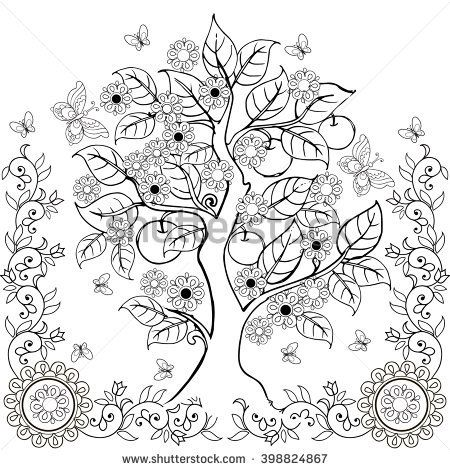 Free Adult Coloring Pages Tree of Life | Four Seasons Tree ...