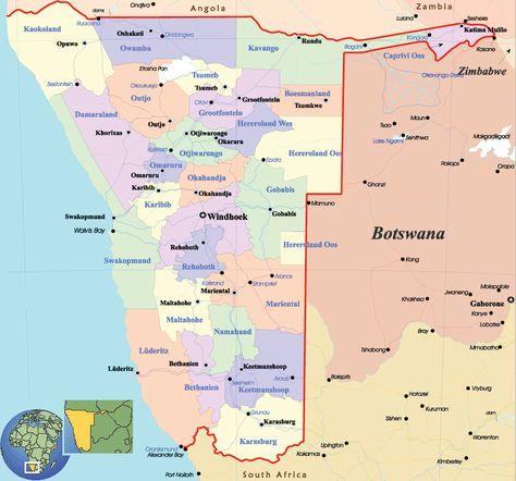 cool Map of Botswana   Botswana, Political map, Map