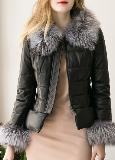 9b0d2ccb6e9e Black Faux Fur Trim Faux Leather Jacket Coat