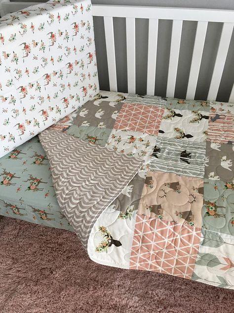 Woodland Girl Quilt Peach Crib Bedding Pink Deer Quilt Deer