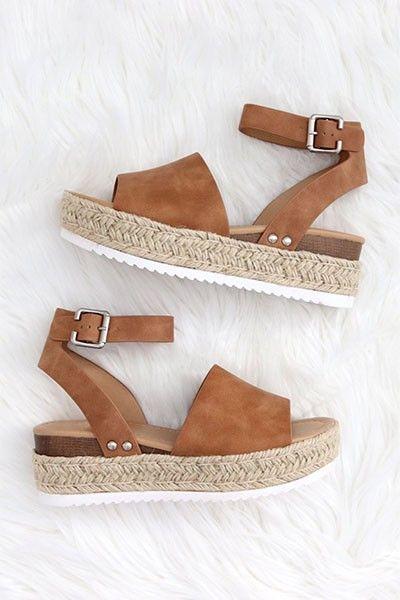 Espadrille Low Platform Flats Sandals