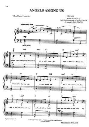 Thumbnail of first page of Angels Among Us piano sheet music PDF by