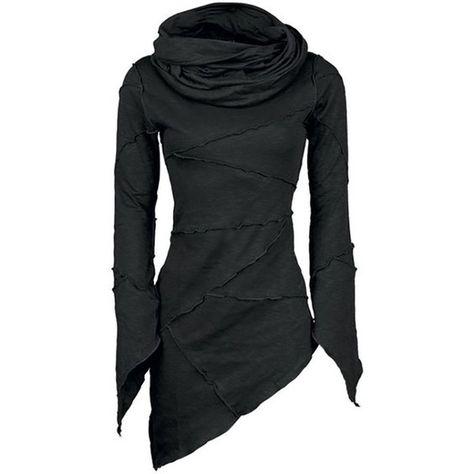 Wish | 4 Color Women Slim Solid Turtleneck Scarf Collar Asymmetric Sleeves Skew Hem Tops