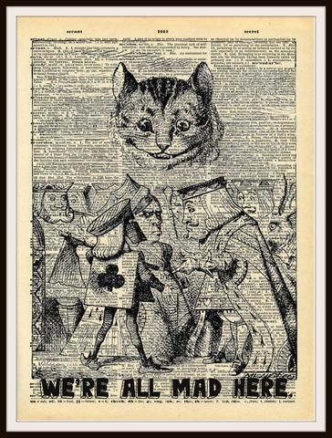 Alice In Wonderland Cheshire Cat Vintage Art Print On Ephemera Dictionary Book Page Background 8 X 10 Vintage Art Prints Alice In Wonderland Art Prints