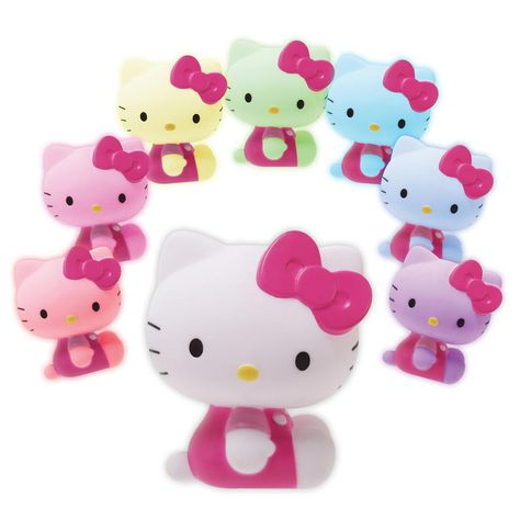 Feel happy and dreamy with this adorable LED mood light. The constant, smooth transition through 7 available colors allows for a relaxing, soothing affect. With its cute Hello Kitty molded figure, this mini light is great for the nursery, kids' bedro Hello Kitty Lampe, Hello Kitty Haus, Hello Kitty Bedroom, Hello Kitty Gifts, Hello Kitty Christmas, Hello Kitty Stuff, Hello Kitty Room Decor, Hello Kitty Favors, Hello Kitty Baby Shower