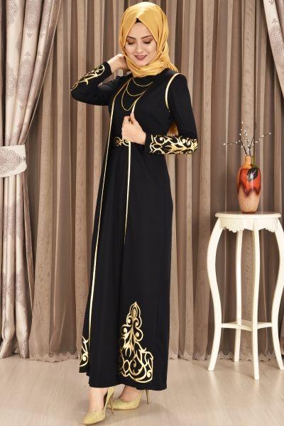 Modamerve Gold Aplik Detayli Jileli Elbise Ikili Takim Lacivert Akg 12055 Islami Giyim Elbise Kiyafet