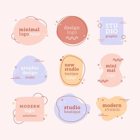 Pastel colors minimal logo collection Fr... | Free Vector #Freepik #freevector #freelogo #freelabel #freedesign #freebadge Packaging Design, Branding Design, Corporate Branding, Label Design, Logo Desing, Bakery Logo Design, Minimal Logo Design, Coffee Packaging, Bottle Packaging