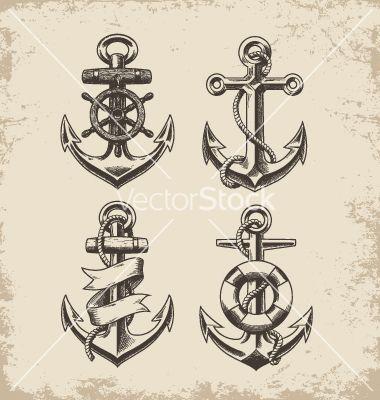 Hand drawn anchor set vector 2072122 - by krookedeye on VectorStock®