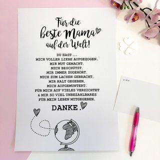 Fur Die Beste Mama Der Welt I Poster Und Postkarte Im Set 7 90 Beste Mama Postkarten Text Poster