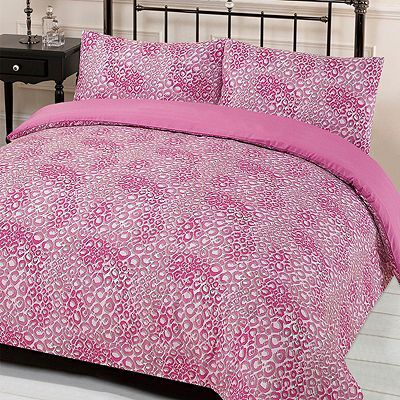 Leopard Print Reversible Quilt Cover with Pillowcase Bed Set