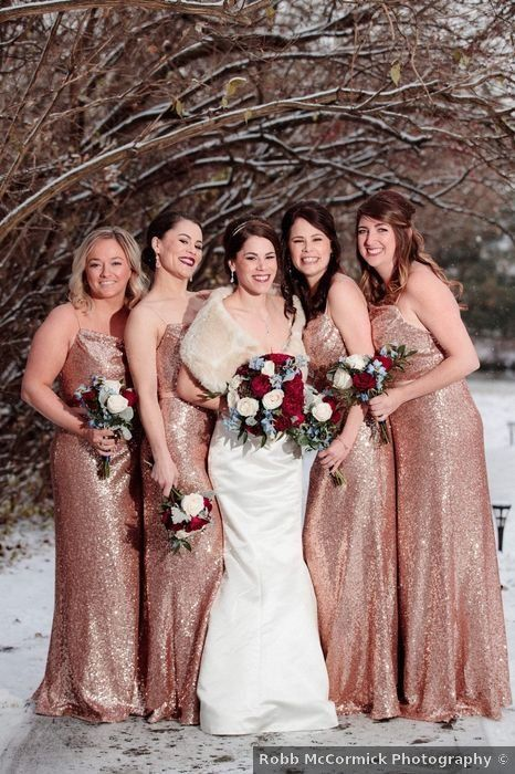 Sarah And Stephen S Wedding In Columbus Ohio In 2020 Winter Bride Bridesmaid Dusty Pink Dresses