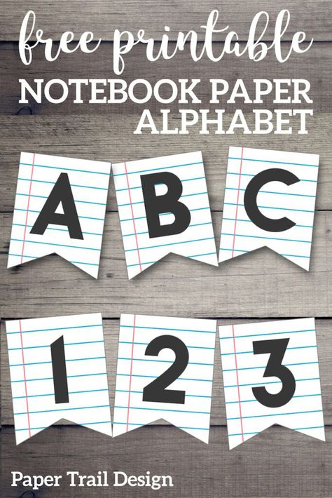 Printable Back to School Banner {Notebook Paper} - Paper Trail Design %