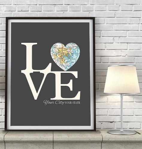 CUSTOMIZED CITY & STATE VINTAGE LOVE MAP PRINT This makes a perfect housewarming gift, wedding gift, anniversary gift, valentines gift, or
