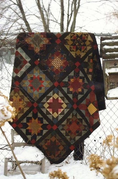 Primitive Folk Art Quilt Pattern: BEST OF ALL. Absolutely love this but no pattern shown as link is no longer valid. Anyone recognize it? Primitive Quilts, Primitive Folk Art, Sampler Quilts, Star Quilts, Star Quilt Blocks, Patchwork Quilting, Scrappy Quilts, Sue Sunbonnet, Geometric Patterns