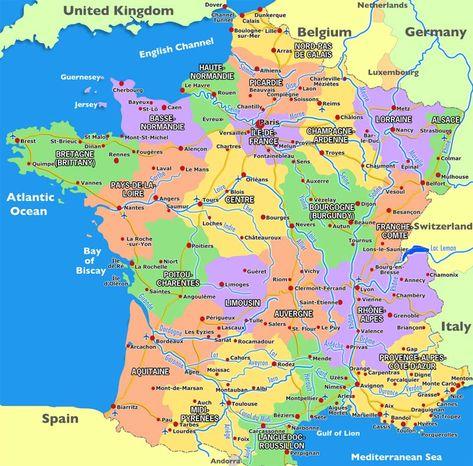 Harta Frantei Cu Regiuni Si Orase Harta In 2020 Hartă Franța