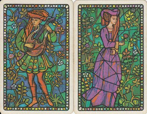 Vintage Swap//Playing  Cards Elegant Ladies signed Pair