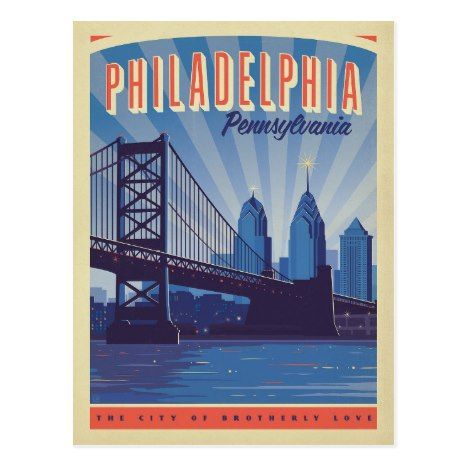 Philadelphia Pennsylvania The City Of Brotherly Postcard Zazzle Com Graphic Art Print Anderson Design Group Retro Travel Poster