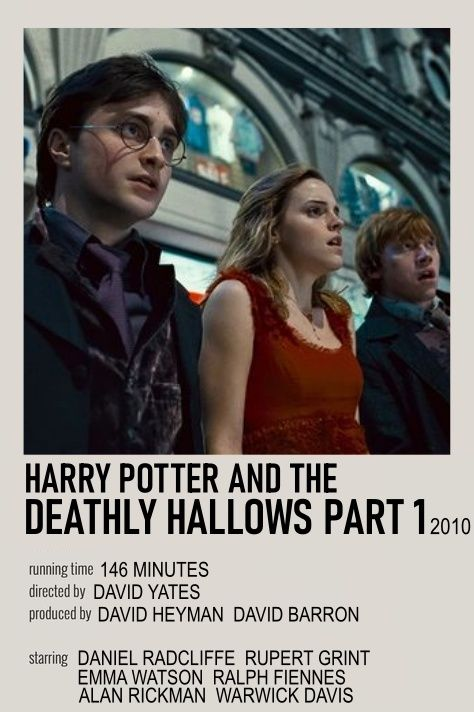 Harry Potter And The Deathly Hallows Part 1 Movie Poster Harry Potter Movie Posters Deathly Hallows Part 1 Movie Posters Minimalist
