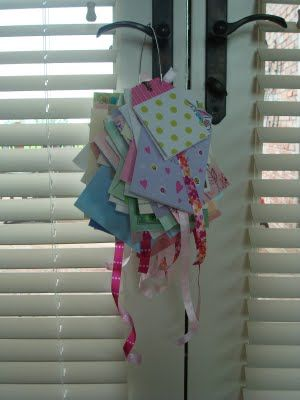 Great way to store cards from baby showers, birthdays, etc...separate each category with a long ribbon.