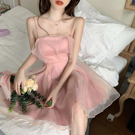 Sleeveless Dresses Women Summer Sweet Ladies Solid Knee-length A-line Vestidos Elegant Fashionable Korean Style Party All-match - pink / S