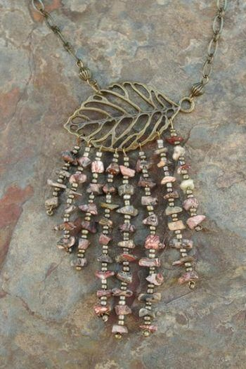 Kaleidoscope Jasper Wire Wrap Pendant Kumihimo Necklace