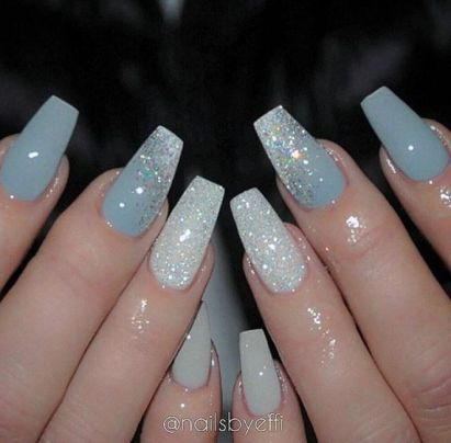 27+ Light Blue Acrylic Nails Coffin Long 16