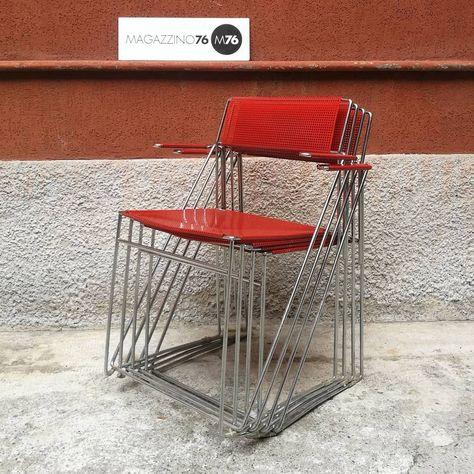 vintage Un set di 4 sedie in metallo...