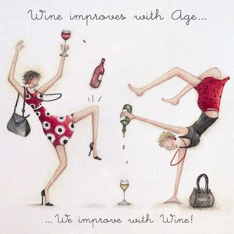 Wine improves with Age , Ladies Who Love Life ... Berni Parker funny cute