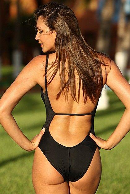 Backless black swimsuit, hot!