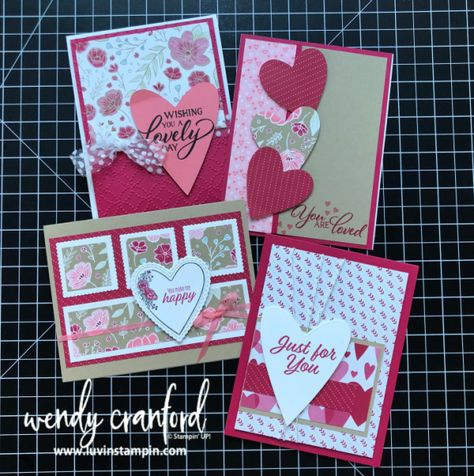 January Class To Go featuring Valentines focused cards. Wendy Cranford www.luvinstampin.com #valentines #classtogo #justbecausecards #simplestamping