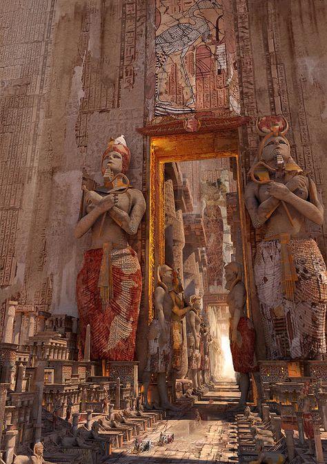 ArtStation - door of Luxor, by Te Hu More concept art here. Fantasy City, Fantasy Places, Fantasy Kunst, Fantasy World, Fantasy Castle, Sci Fi Fantasy, Egypt Art, Fantasy Landscape, Ancient Architecture
