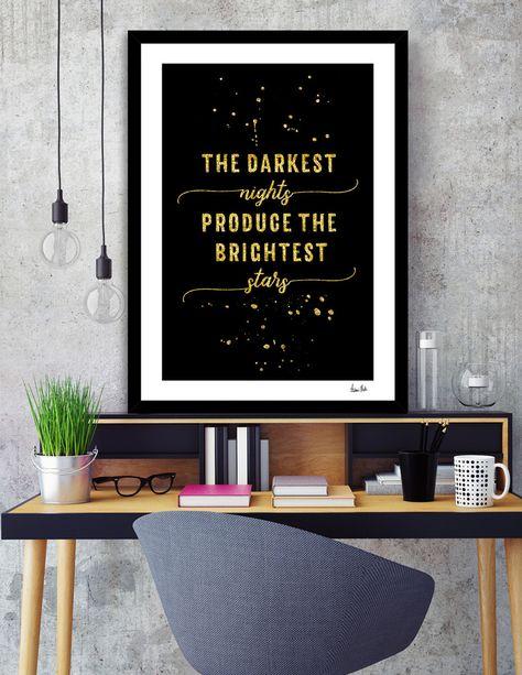 The Darkest Nights Produce The Brightest Stars Motivational Wall Art