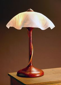 Tendril Table Lamp with White Swirly Shade: Clark Renfort: Wood Table Lamp - Artful Home