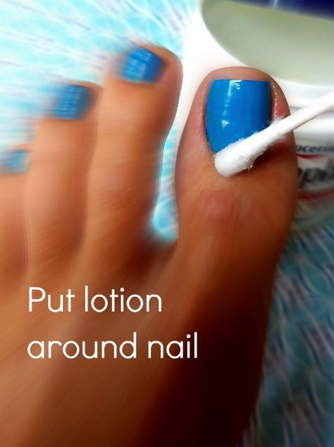 Apply lotion around nail, paint nails, use a q-tip to remove nail polish out of place! The polish wont stick to the areas where lotion are! I get polish everywhere....good tip!